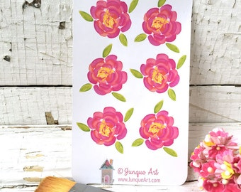 Pink Flower Art Stickers