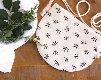 Small Crossbody Zippered  Bag / Women's Bag /  Half Moon Bag / Blockprinted Bag / Handprinted with Linoleum / Dragonfly Print
