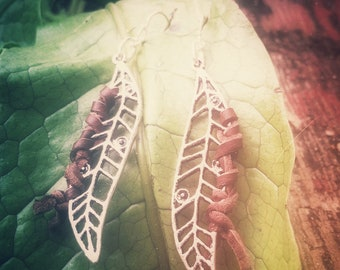 50% OFF- willow- silver leaves and brown leather with sterling silver earring wire