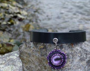Purple Octopus Choker - Black Leather - Octopus Choker - Free US Shipping