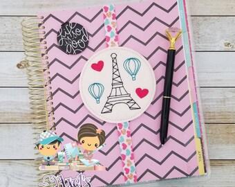 Eiffel Tower Elastic Bookmark - Eiffel Tower Planner Band - Paris Planner Accessories - Planner Accessories - Paris Planner Band