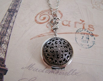 Dark Silver Locket  Anniversary  Wedding Jewelry Bride Bridesmaid Daughter Sister Mother Birthday Wife Photo Pictures - Maribelle