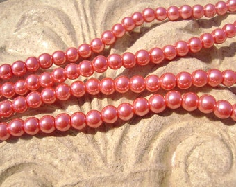 Pearlescent Glass Pearl Pearls Beads Cranberry Red 4mm Round LARGE 30mm Strand