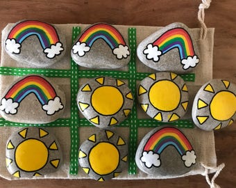 Rainbow and sunshine noughts and crosses travel game rocks