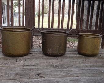 Rare Find of 3 Vintage Nesting Brass Pots... Large