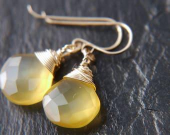 Marigold Yellow Chalcedony Drop Earrings, 14K Gold Filled Wire Wrapped Translucent Golden Heart Briolette Gemstone Dangle Earrings Boho