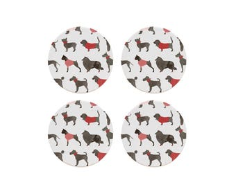 Holiday Dogs Coaster Set