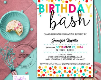 Sweet 16 birthday party invitation template diy editable birthday bash party invitation template birthday party editable pdf invite template printable birthday party invitation instant download stopboris