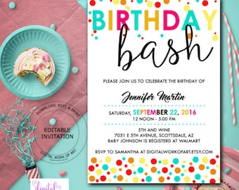 Sweet 16 birthday party invitation template diy editable birthday bash party invitation template birthday party editable pdf invite template printable birthday party invitation instant download stopboris Image collections