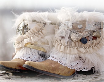 Custom BRIDAL Upcycled new COWBOY BOOTS - boho boots Wedding Boots Gypsy Boots Festival Boots Leather Ankle boots