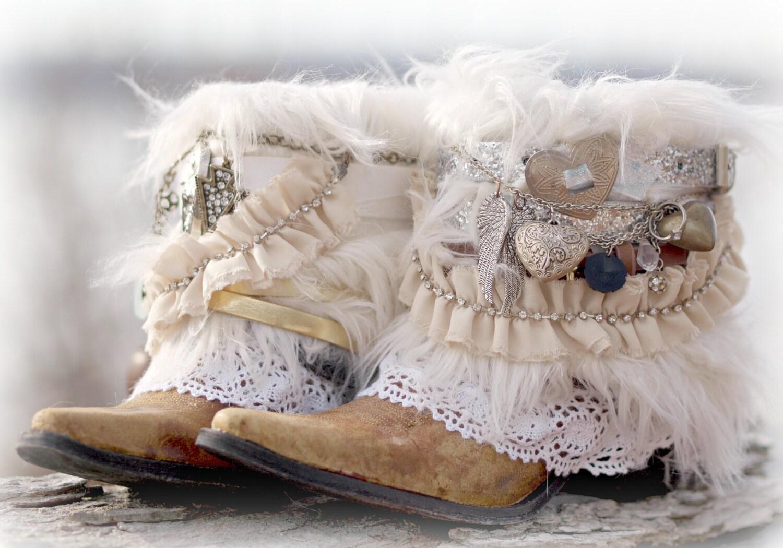 Custom BRIDAL Upcycled new COWBOY BOOTS boho boots Wedding