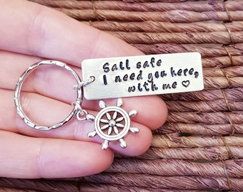 Personalized Keychain, Sail Safe, Ship's Wheel charm, Nautical, Boat, Helm, Aluminum, Engraved Keychain, Husband Gift, Boyfriend Gift