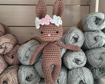 Baby amigurumi Bunny with flower headband,crochet bunny, crochet toy newborn gift, newborn bunny gift,child gift,newborn shower gift,newborn