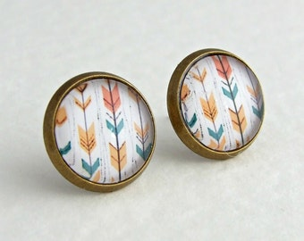 Chevron Earrings .. arrow earrings, pastel earrings, chevron studs, minimalist jewellery, peach, teal, gold