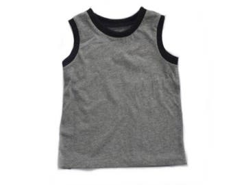 Gender Neutral Tank Top - baby kid toddler tank top - sleeveless shirt - grey and black tank top