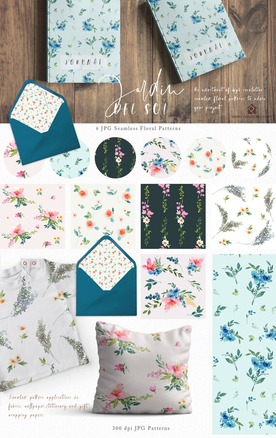Watercolour Flower Clip Art Collection - Hand Painted Graphics- Jardin Del Sol Seamless Floral Patterns