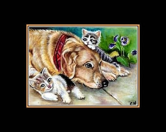 """aceo """"lab dog with kittens"""" art card love friends nadia"""