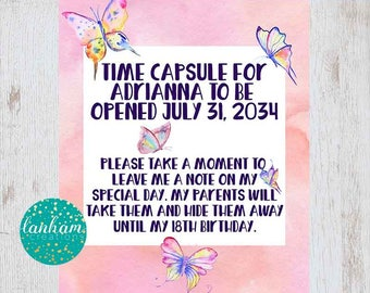 Personalized Time Capsule, First Birthday Time Capsule, Butterfly Party, Garden Party, 1st Birthday, Spring Birthday Party, Spring Birthday