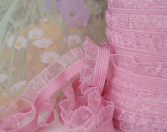 "3yds Stretch Ruffle Ribbon Pink Organza single side 1/2"" inch Wide Elastic Trim diy wedding bridal Garter Elastic by the yard"