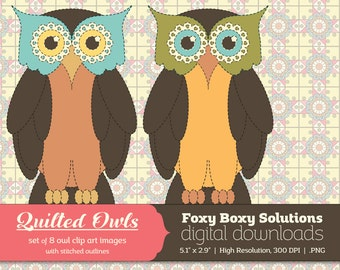 Quilted Owl Clip Art Pack: Set of 8 Colorful Owl Clip Art Images, instant download