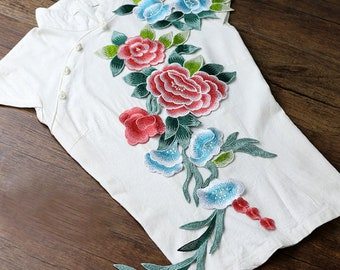 Embroidery Flower Patches Green and Pink Floral Appliques
