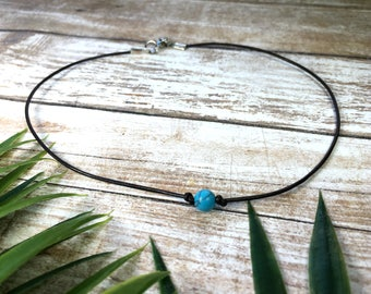 Boho Choker - Boho - Choker - Gift For Her - Choker Necklace - Necklace - Gift For Women - Turquoise Choker - Leather Choker - Beaded Choker