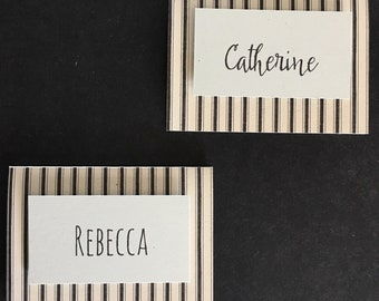 Black Ticking Place Cards ; 3D Place Cards; Black ticking and powder blue; set of 6