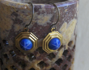 The North Star Art Deco Earrings . Cobalt Blue Star Cabochon brass setting earrings.