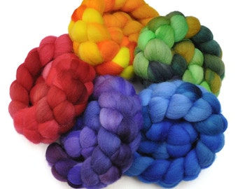 Hand Dyed Falkland Rainbow Roving 5-Pack Wool spinning fiber - 10 ounces