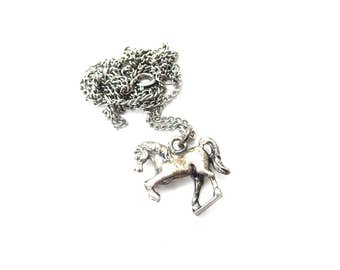 3 Dimensional / 3D Equestrian Rearing Horse Silver Tone Silver Vintage Unmarked Pendant Necklace