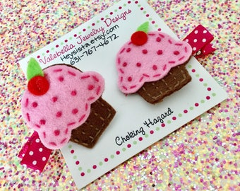 Pinkalicious hair clip pink strawberry cupcake girls hair clip baby toddler girl accessories girls 1st birthday hair bow barrette favor