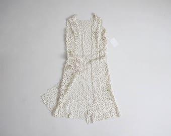 70s crochet duster | lace duster | cream crochet lace duster