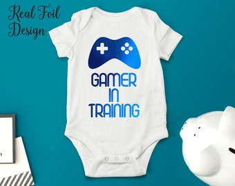 Geeky Baby Boy Clothing One Piece Bodysuit, Gamer In Training Take Home Outfit Available in Blue, Rose Gold, Red or Pink Foil