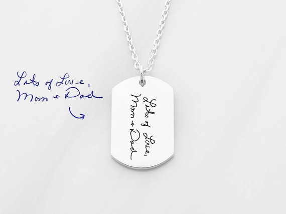 Handwriting necklace for men Memorial signature jewelry