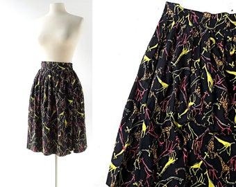1950s Novelty Skirt | Giraffe Skirt | 50s Skirt | 25W XS