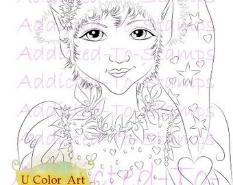 INSTANT DOWNLOALD Digi Doodle Download Stamp Christmas Elf Missy Sherri Baldy