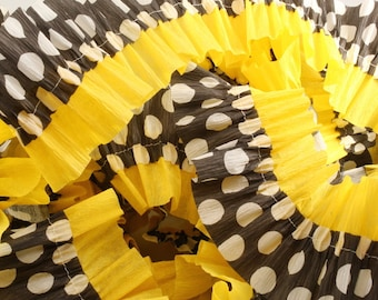 Yellow and Black with White Polka Dot Ruffled Crepe Paper Streamers - 36 Feet - Party Decor Hanging Decoration Supplies