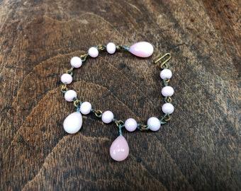 Vintage Pink Milk Glass Doll Necklace
