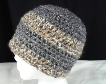 Hand Crocheted Chunky Yarn Adult Hat