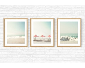 Beach prints, gallery wall set, beach wall art, wall art canvas, extra large wall art, framed wall art, beach canvas, umbrella, pink