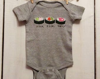 "Funny Sushi Roll ""Rice, Rice, Baby"" Baby bodysuit, sushi roll baby gift, fun baby shower gift, mom-made, baby one piece"
