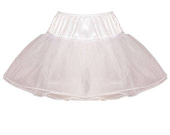 White 15 inch 4 layer Satin & Organza petticoat. From childrens size to XL - Bridal Retro Vintage Rockabilly 50's style