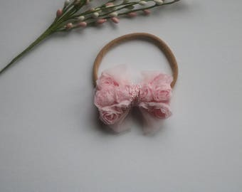 Small Pink Rosette Bow headband