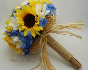 Sunflower Bouquet, Blue Hyacinth, White Daisies, Burlap, Rustic Woodland Wedding Flowers