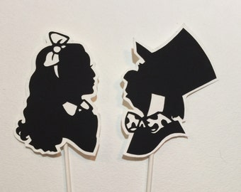 Alice in Wonderland and Mad Hatter Wedding or Birthday Cake Topper Silhouette, Hand Cut Paper