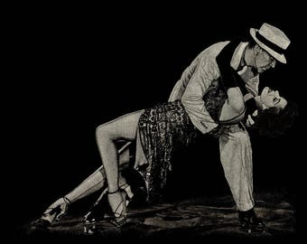 Smooth Criminal, Photo Realistic Scratchboard Ballroom Dance Portrait Artwork of Fred Astaire and Cyd Charrise