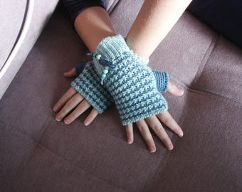 crochet fingerless gloves green water couture