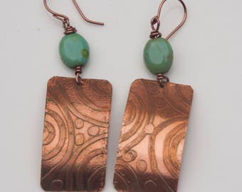 Handmade Rustic Modern Copper Earrings