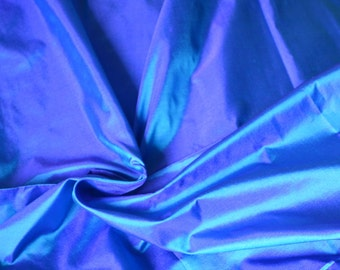Fine Indian Silk Taffeta in  Blue with purple and teal shimmers - fat quarter - TF5