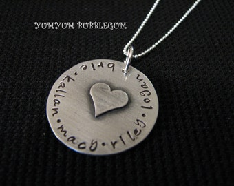 Oxidized Single Disc Handstamped Family Necklace with Soldered Heart